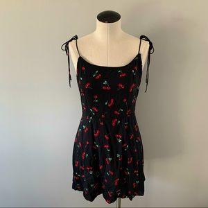ZAFUL Cherry Print Tie Shoulder Mini Dress XL